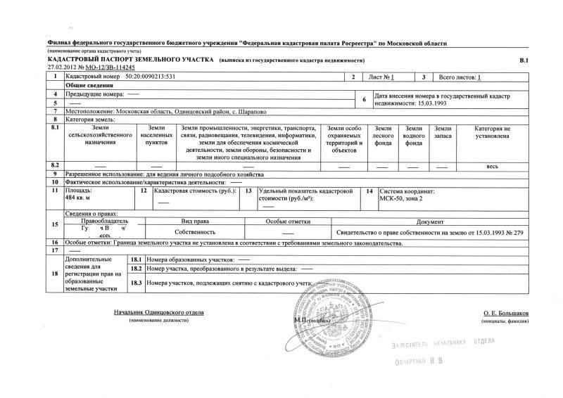 Кадастровый паспорт земельного участка, образец, срок действия и оформление