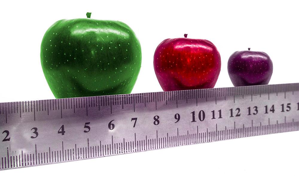 линейка,  яблоки